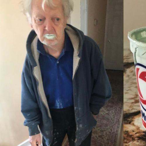 Grandad eats tub of paint thinking it was yoghurt