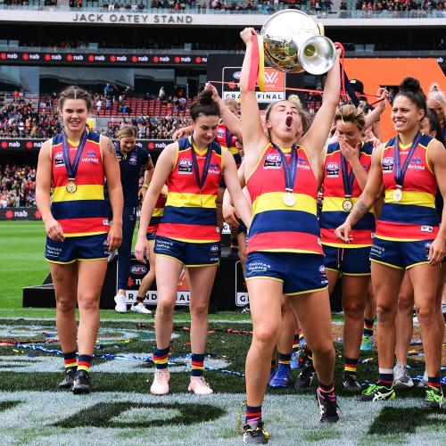 Soda meets Crows Aflw stars the morning after Grand Final