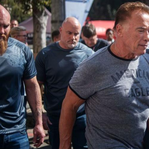 Arnold Schwarzenegger Fly Kicked From Behind
