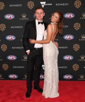 http://Rory%20Laird%20of%20the%20Adelaide%20Crows%20and%20his%20partner%20Lucy%20McArthur%20arrive%20at%20the%202019%20Brownlow%20Medal%20ceremony.