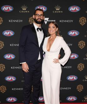 http://Collingwood's%20Brodie%20Grundy%20and%20his%20partner%20Rachel%20Wertheim%20arrives%20ahead%20of%20the%202019%20Brownlow%20Medal%20at%20Crown%20Palladium.