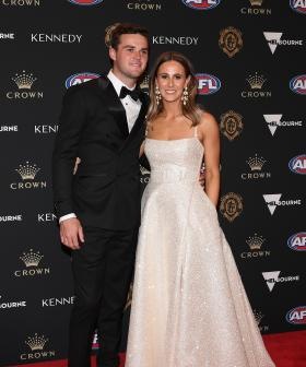 http://Adelaide's%20Brad%20Crouch%20and%20his%20partner%20Britt%20Kennedy%20arrives%20ahead%20of%20the%202019%20Brownlow%20Medal%20at%20Crown%20Palladium.