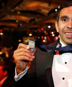http://Eddie%20Betts%20of%20the%20Crows%20poses%20for%20a%20photograph%20with%20the%20Phil%20Manassa%20Medal%20after%20winning%20goal%20of%20the%20year%20during%20the%202019%20Brownlow%20Medal.