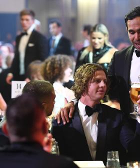 http://Nat%20Fyfe%20of%20the%20Dockers%20celebrates%20with%20Eddie%20Betts%20at%20the%202019%20Brownlow%20Medal%20at%20Crown%20Palladium%20on%20September%2023,%202019.