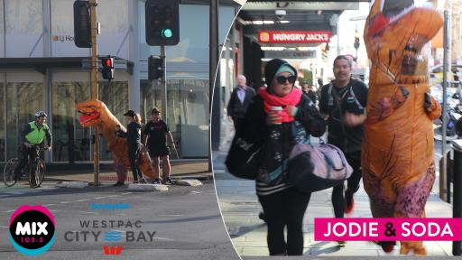 Four Dinosaurs Pound Adelaide Streets For Jodie And Soda's 'Run FOTS, Run'