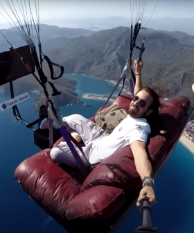 Man Flies His Entire Lounge Room Over The Ocean Because...Why Not?