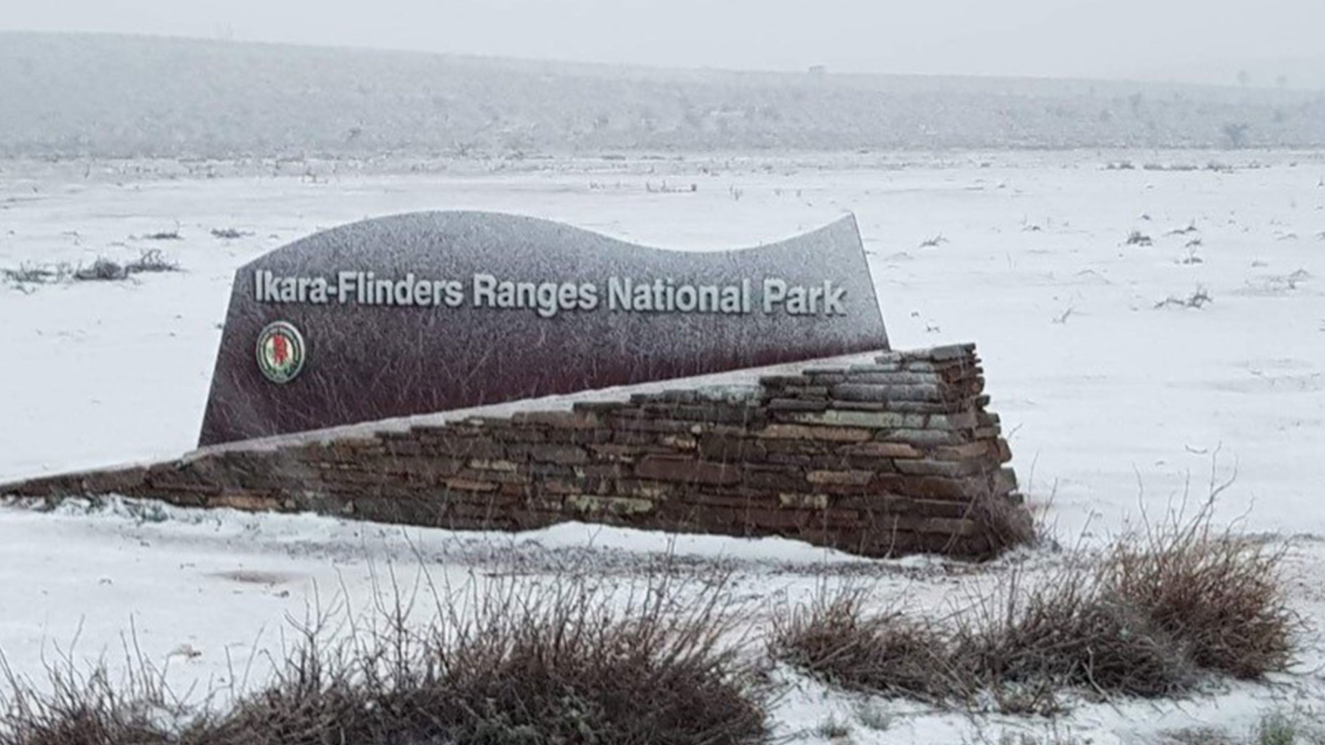image for Wilpena Pound In The Flinders Ranges Has Pretty Much Turned Into A Ski R...