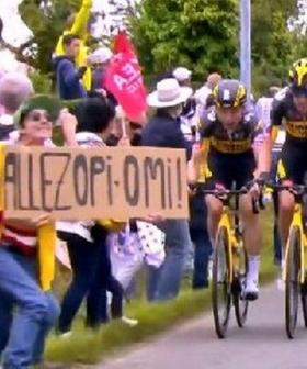 Spectator Mows Down 50 Riders On Tour De France With A Sign For Her Grandparents