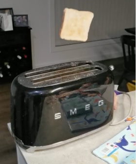 """IT FLIES!"": Erin's Toaster Launches Her Bread Across Her Kitchen & We've Got Footage"